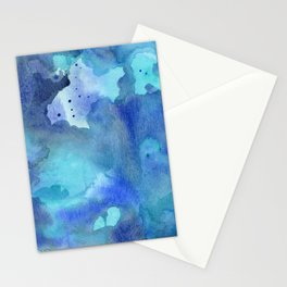 Blue Abstract Watercolor Painting Stationery Cards