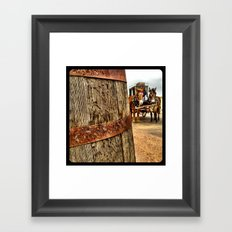 A barrel and some donkeys. Framed Art Print