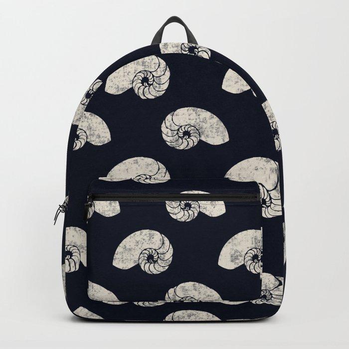 Navy blue maritime sea shell pattern Backpack