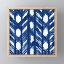Indigo Geometric Shibori Pattern - Blue Chevrons on White Framed Mini Art Print