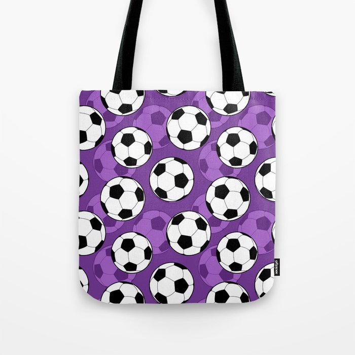 Football Pattern on Purple Background Tote Bag