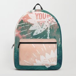 Your Vibe Attracts Your Tribe - Pink Teal Forest Backpack