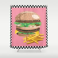 burger Shower Curtains featuring Burger by Kozza