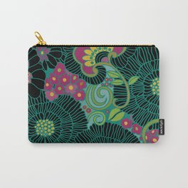 Retro 1970s Floral Print Pink Carry-All Pouch