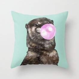 Otter with Bubble Gum Throw Pillow