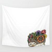 hedgehog Wall Tapestries featuring Flower Hedgehog by Noah's ART
