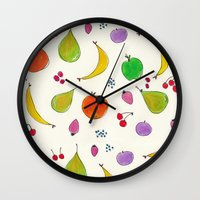 fruits Wall Clocks featuring Fruits! by Niche Drawings