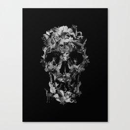 Jungle Skull B&W Canvas Print