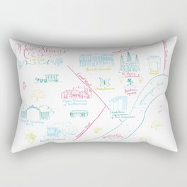 New Orleans, Louisiana Illustrated Calligraphy Map Rectangular Pillow