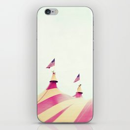 Circus Tent Nursery Art, Carnival Photography, Mint Pink iPhone Skin