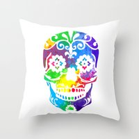 sugar skull Throw Pillows featuring Sugar Skull by Diana Arend