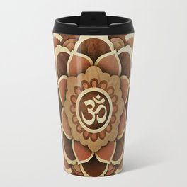 Patience and lucky of harmony mandala wood marquetry Travel Mug