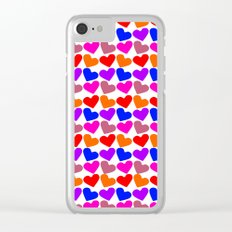 Colorful Hearts Pattern Clear iPhone Case