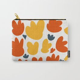 Heart Flowers Yellow Orange Blue Abstract Art Pattern Carry-All Pouch