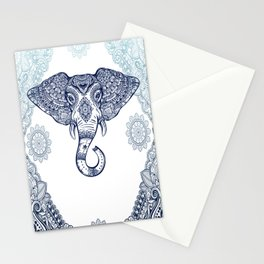 Bohemian Elephant Tribal Boho Gradient Blue Stationery Cards