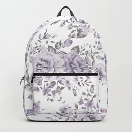 FLORAL VINTAGE ROSES MAUVE WHITE Backpack