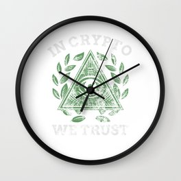 In Crypto We Trust Bitcoin Cryptocurrency Distressed Wall Clock
