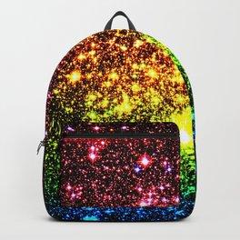 Rainbow Sparkle Galaxy Stars Backpack
