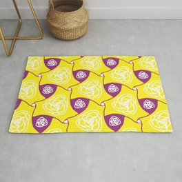 Yellow cabbage roses with plum lozenges Rug
