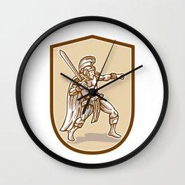 Centurion Roman Soldier Wielding Sword Cartoon Wall Clock