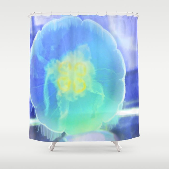 Blue Moon Jelly Fish Shower Curtain