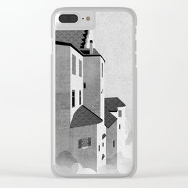 Castle in the Sky | Black & White Clear iPhone Case