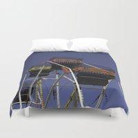 ferris wheel Duvet Covers featuring Ferris Wheel by Steve Purnell