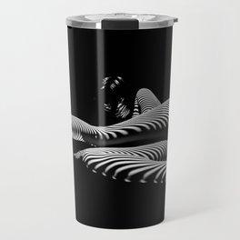 8428-KMA BW Art Nude Abstract Zebra Stripe Woman Long Legs Travel Mug