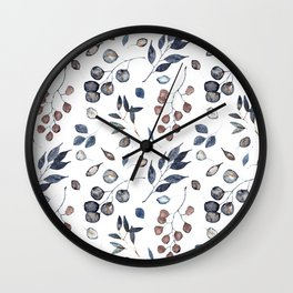 Watercolor leaves treasury Wall Clock