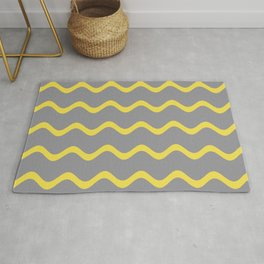 Soft Rippled Horizontal Line Pattern Pantone 2021 Color Of The Year Illuminating and Ultimate Gray  Rug