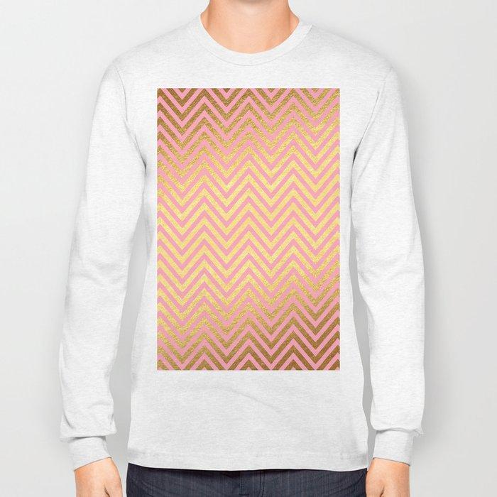 Chevron Herringbone pattern rosegold- gold metal glitter on pink watercolor Long Sleeve T-shirt