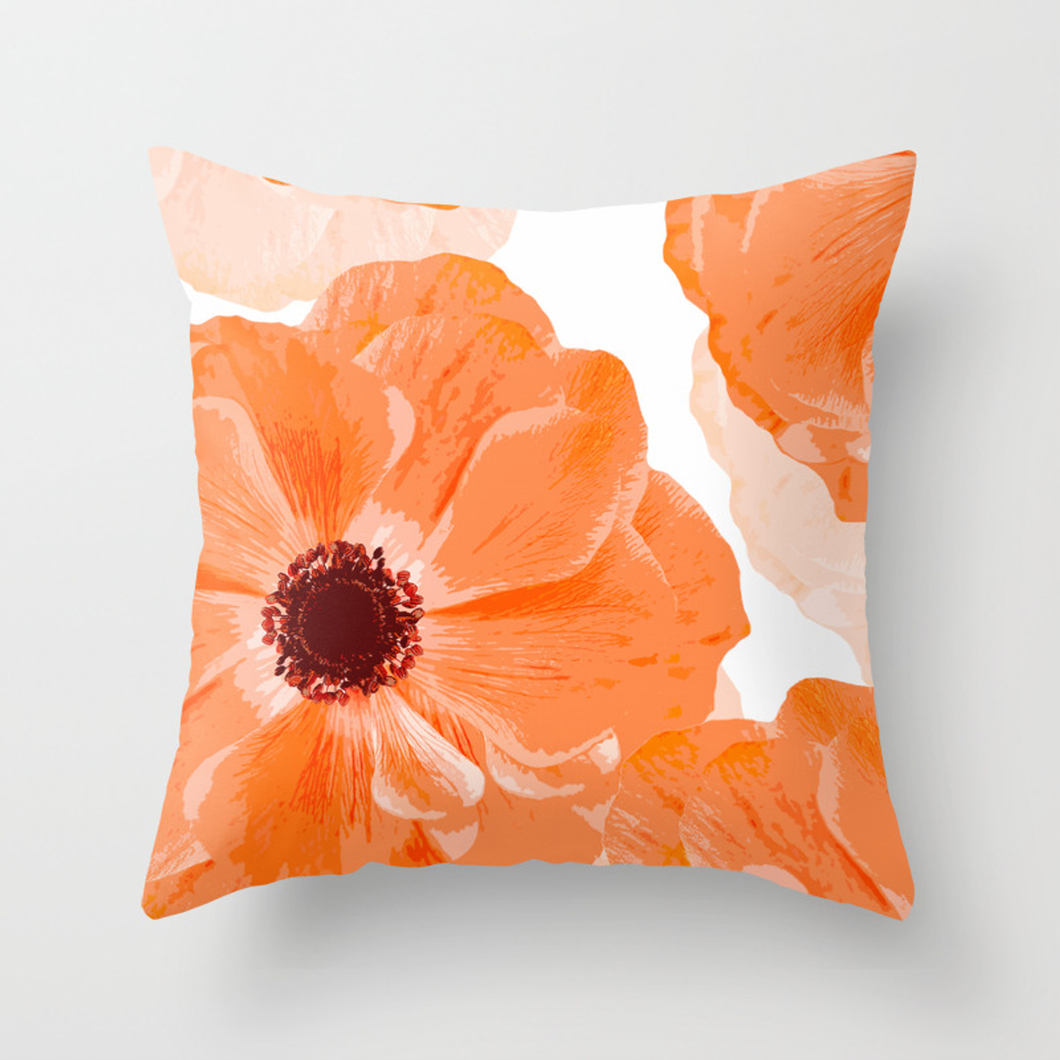 Beautiful Coral Color Flowers White Background Decor Society6 Buyart Throw Pillow By Pivivikstrm Society6