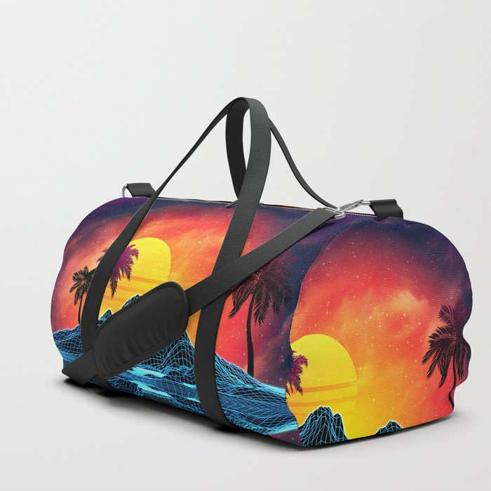 Sunset Vaporwave landscape with rocks and palms Duffle Bag
