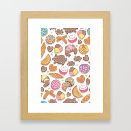 Mexican Sweet Bakery Frenzy // white background // pastel colors pan dulce Framed Art Print
