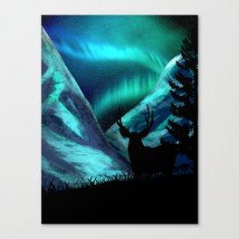 Deer, Mountains, and Aurora Lights Canvas Print