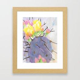 Watercolor Cute Purple Cactus With Flowers Framed Art Print