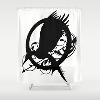 mockingjay Shower Curtains featuring Catching Fire Mockingjay Design  by CorySimpsonArt