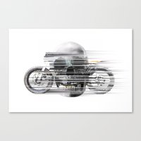 cafe racer Canvas Prints featuring SKULL AND CAFE RACER by Joedunnz