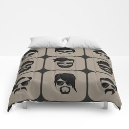 mustache, beard and hairstyle hipster Comforters