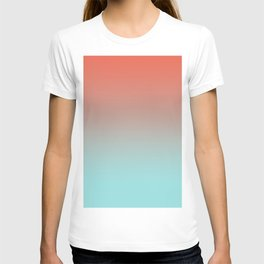 Pantone Living Coral & Limpet Shell Gradient Ombre Blend, Soft Horizontal Line T-shirt
