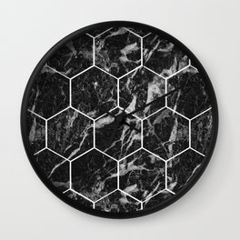 Black Campari marble - hexagons Wall Clock