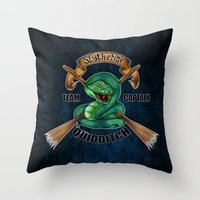 quidditch Throw Pillows featuring Slytherine quidditch team captain by JanaProject
