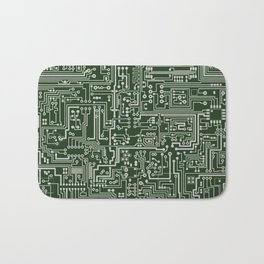 Circuit Board // Green & Silver Bath Mat