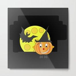 Funny half smile pumpkin head with bat and moon Metal Print