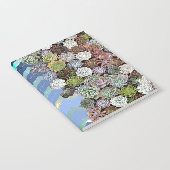 Opal & Succulent Chevron Pattern Notebook