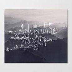 Adventure awaits Mountain View Typography Canvas Print