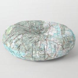 Newark NJ and Surrounding Areas Map (1986) Floor Pillow