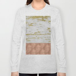 Gold faraldi marble and rose gold Long Sleeve T-shirt