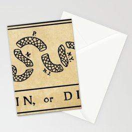 "1776 ""Join, or Die"" Revolutionary War flag with 13 colonies, snake & no colors by Benjamin Franklin Stationery Cards"