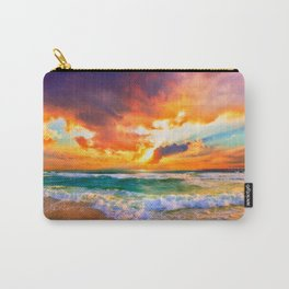 Orange Sunset Landscape Red Purple Green Sea Waves Art Carry-All Pouch
